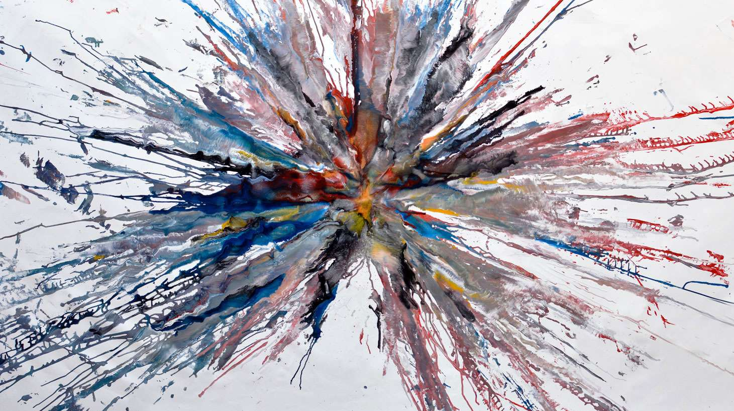 Large multi colored exploding art
