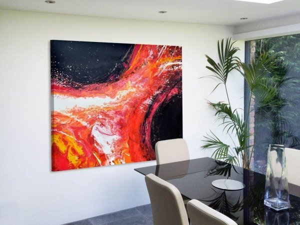 Original contemporary painting looks like a volcano