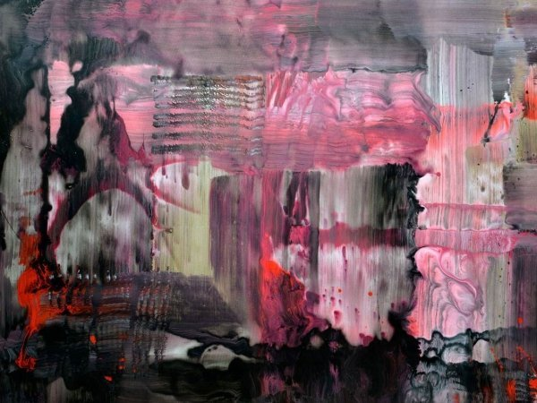 Big grey and pink art called Immovable Objects