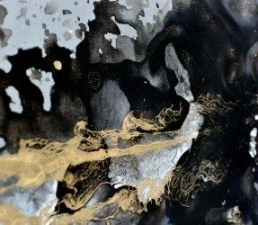 Black and gold paint on canvas
