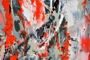 Complex paint spatters on canvas