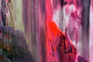 Fluorescent pink paint on canvas
