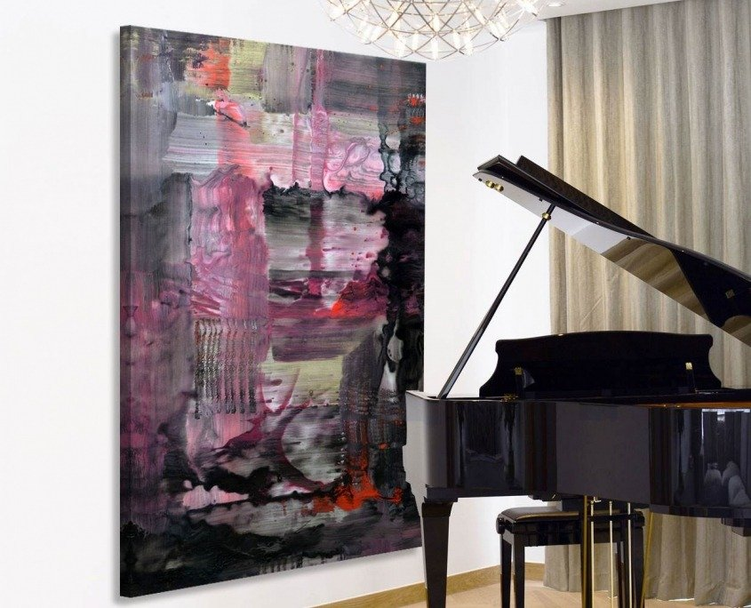 Grand piano with a large pink and black painting