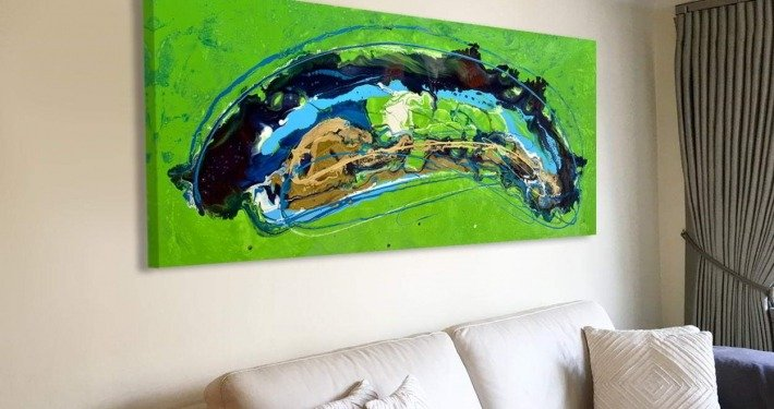 Green and blue painting called Magnetic Fields