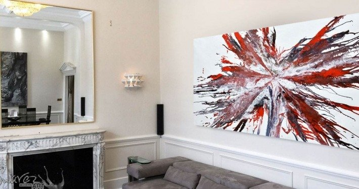 Large red abstract painting in a London apartment