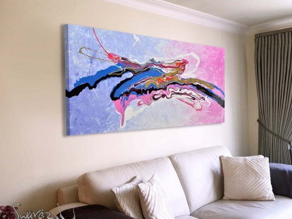 Lilac and pink based abstract painting
