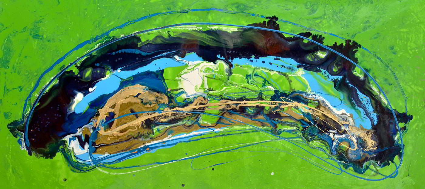 Lime green and dark blue painting Magnetic Fields