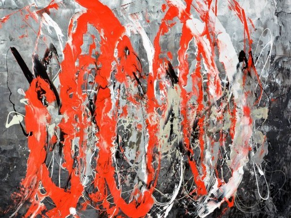 Unstoppable Forces red black and white painting