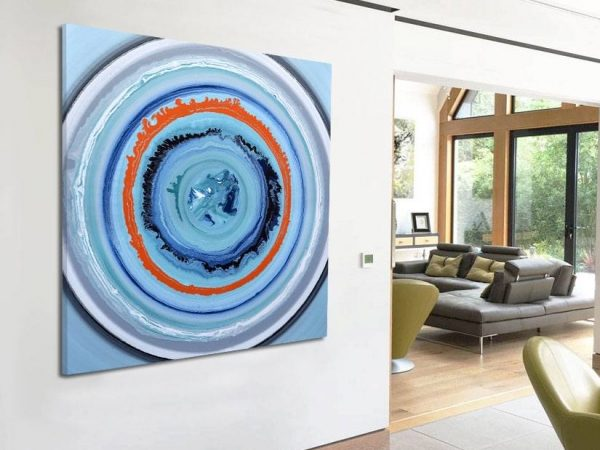 circles painting in a large open plan room