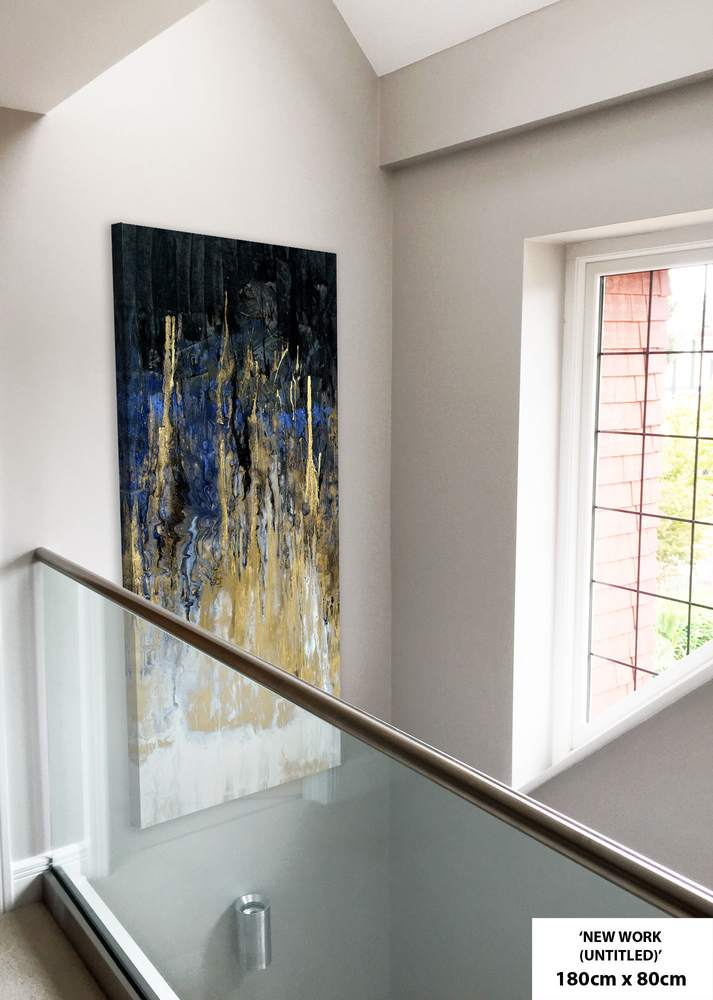 blue and gold in entrance hall