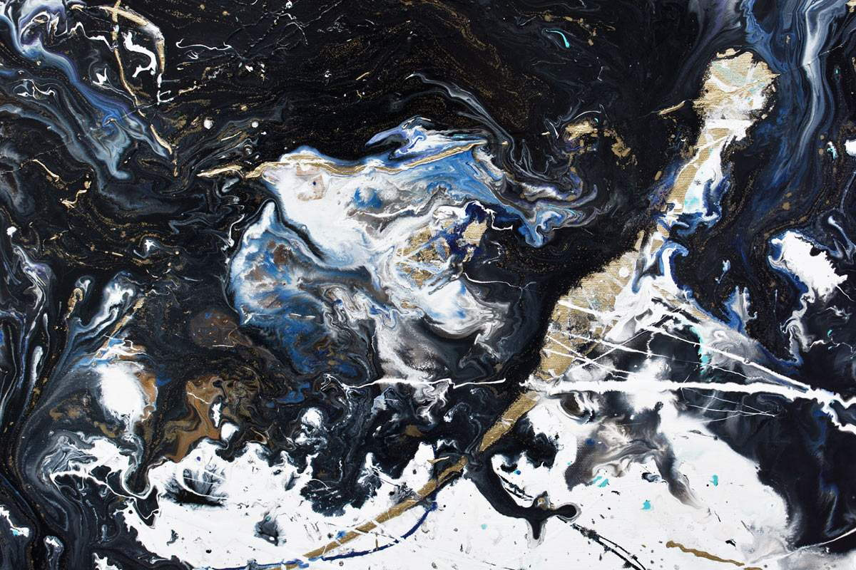 Large Black And White Abstract Art With Gold And Blue