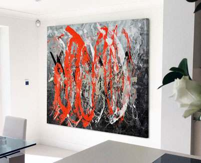 Large-red-and-black-art-in-a-kitchen