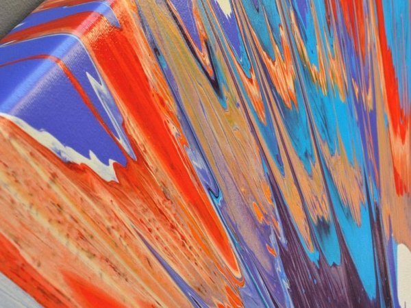 Orange and blue radial painting