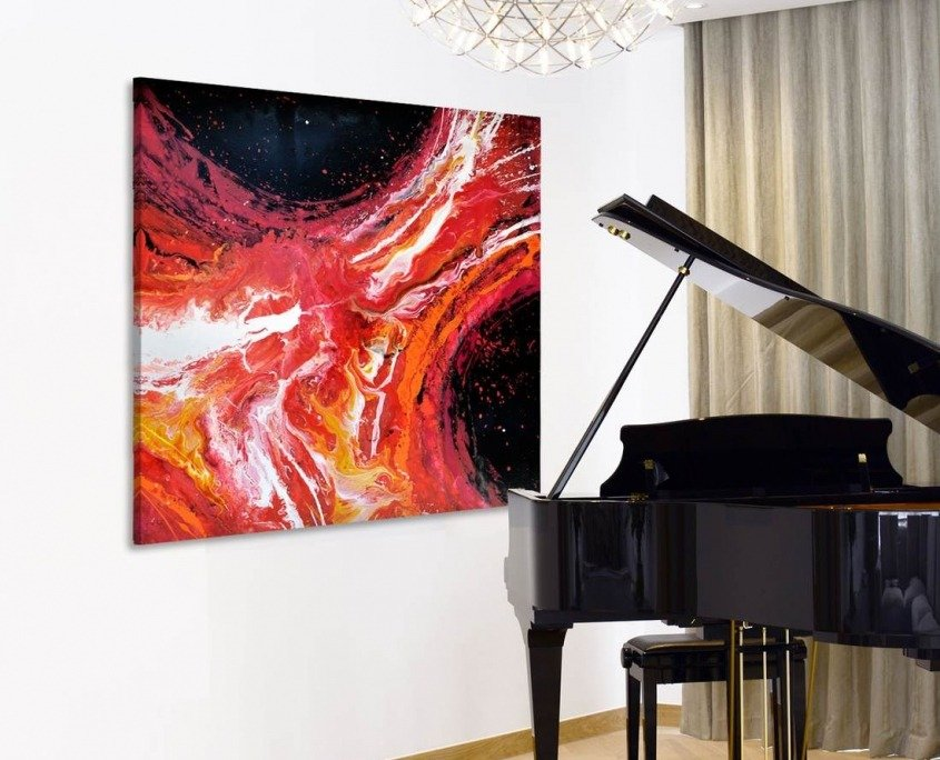 Piano and abstract art