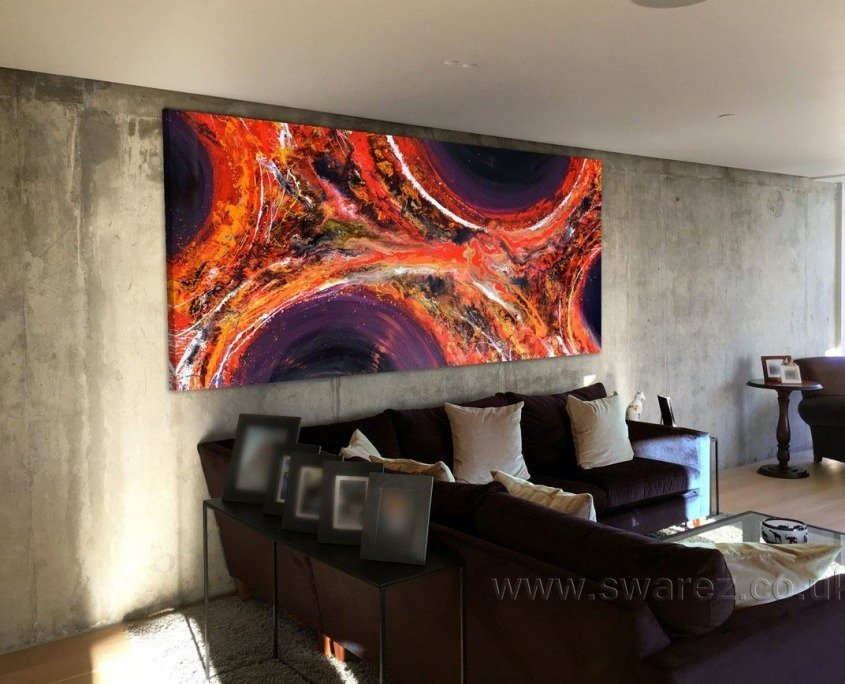 Very large abstract painting in a contemporary apartment