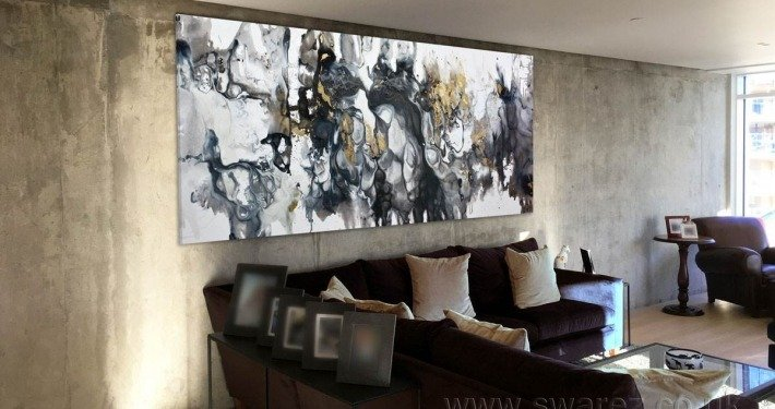 giant abstract art in a penthouse apartment