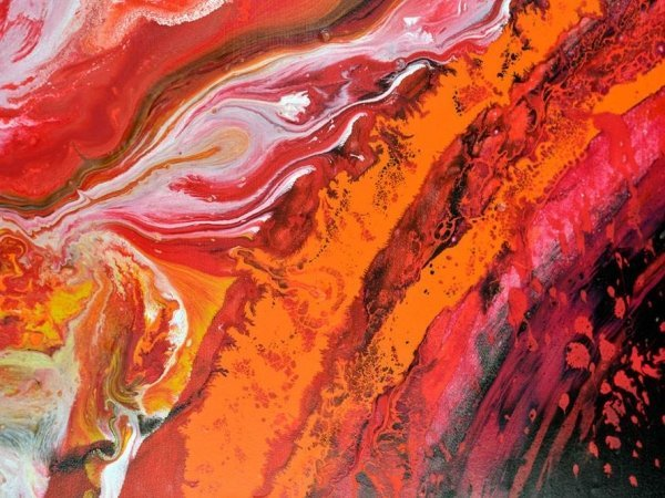 red paint on canvas