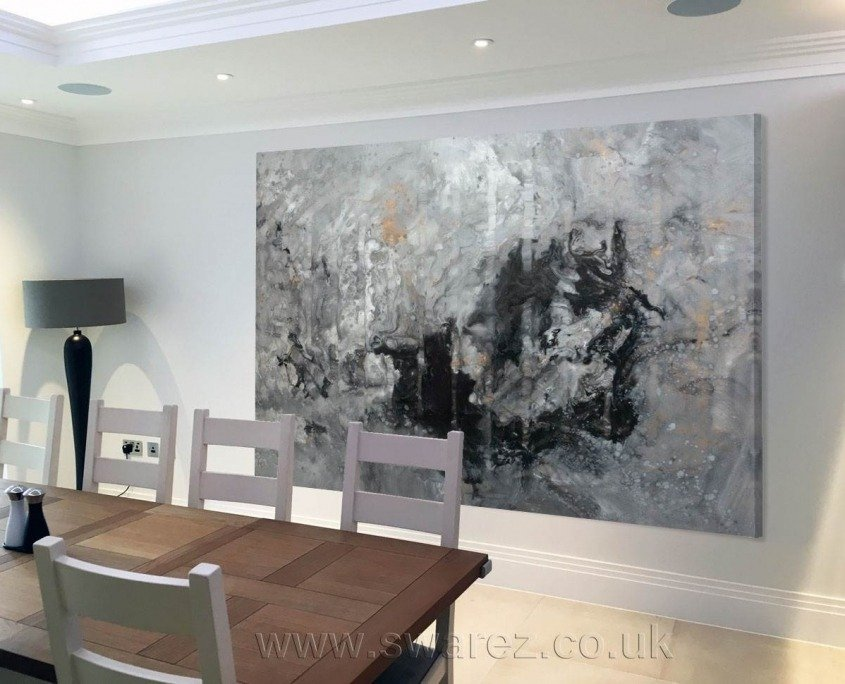 original large painting in grey and gold