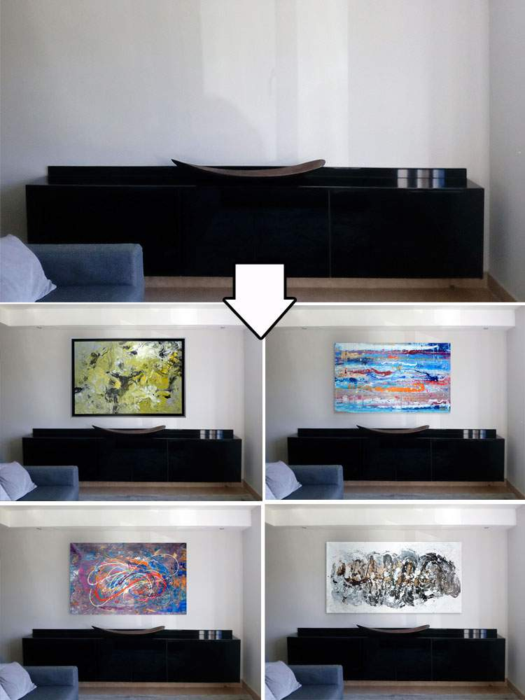 photoshopped paintings on a wall