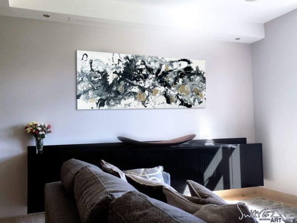 Black-and-white-abstract-art-in-a-living-room