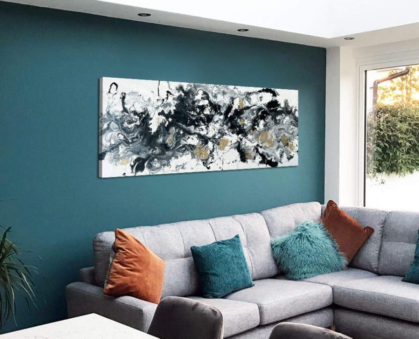 black white and gold drip style painting