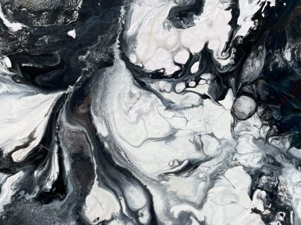 fluid paint in black and white
