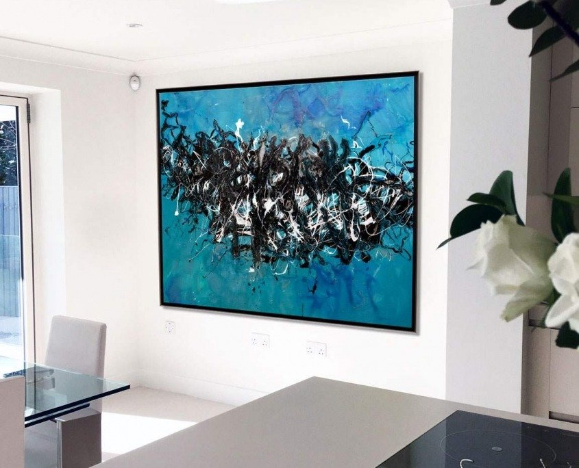 large blue art in kitchen