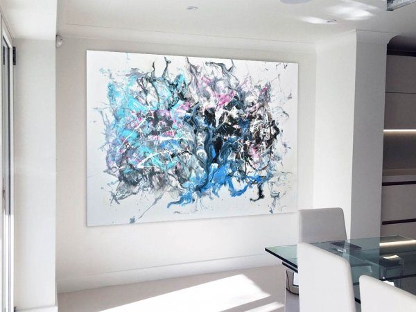 Abstract painting in a white kitchen