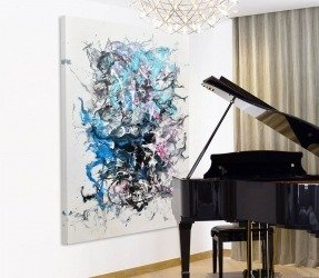 Abstract art in a piano room