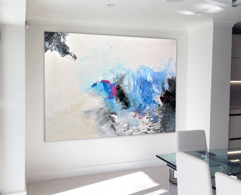 Pink-blue-abstract-painting