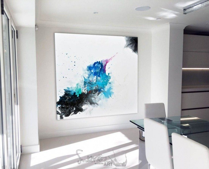 abstract Kingfisher painting in a kitchen