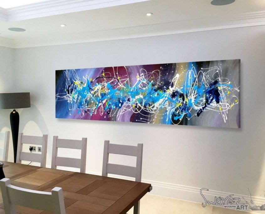 blue and purple art in dining room