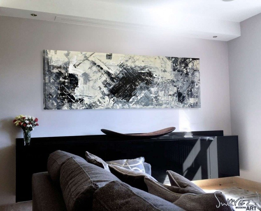 Black-and-cream-contemporary-art-in-a-living-room