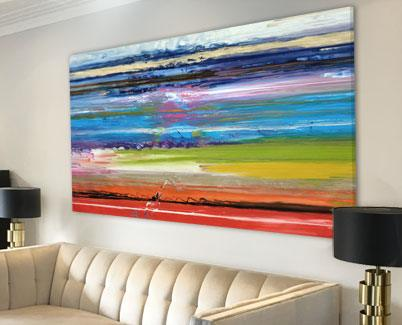 large rectangular rainbow painting