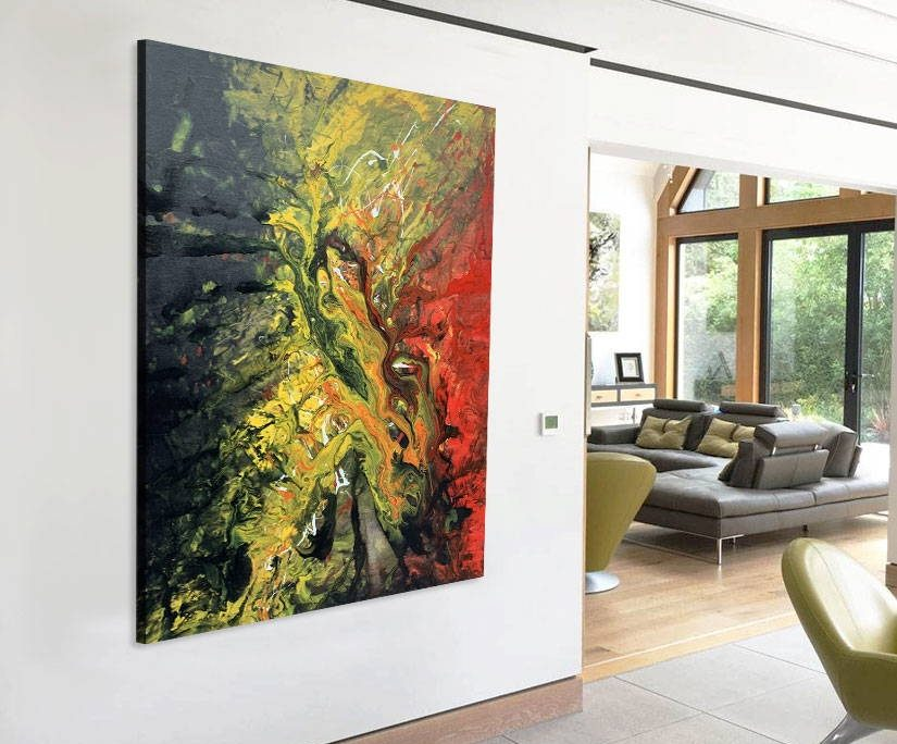 red black and yellow modern painting in open plan living space