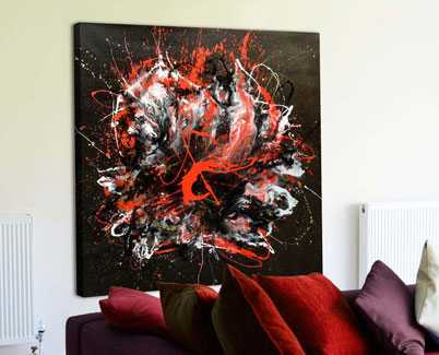 red black white abstract art
