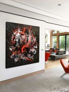 large square red and black abstract painting