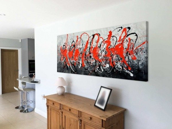 Contemporary painting in black and red called Over The Edge