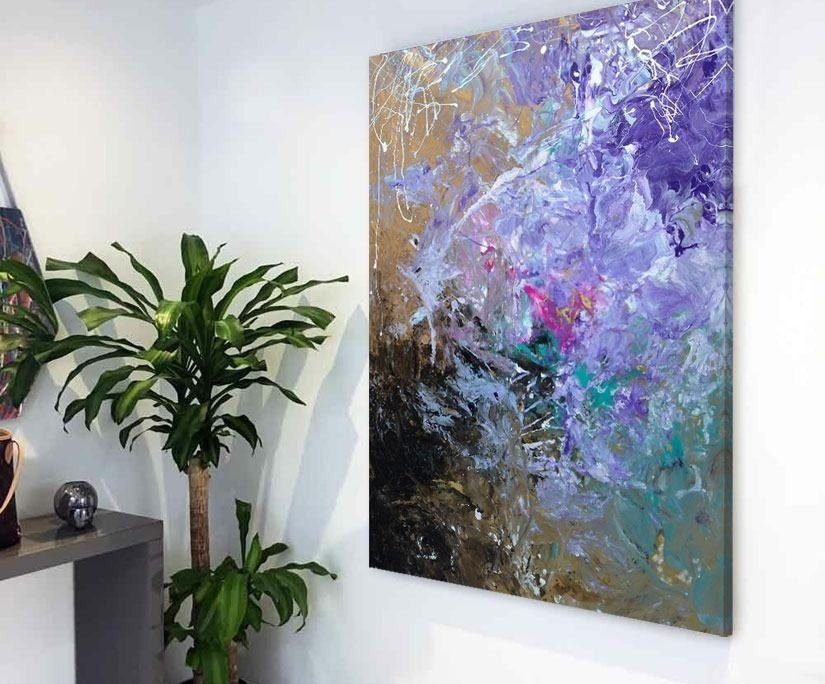 purple and black painting in hallway entrance