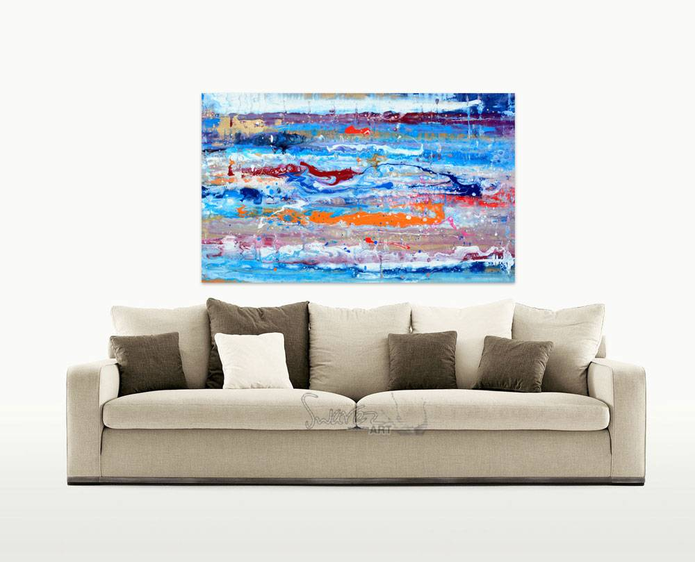 Orange And Blue Abstract Art Painting Reach For The
