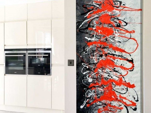 kitchen and black red art