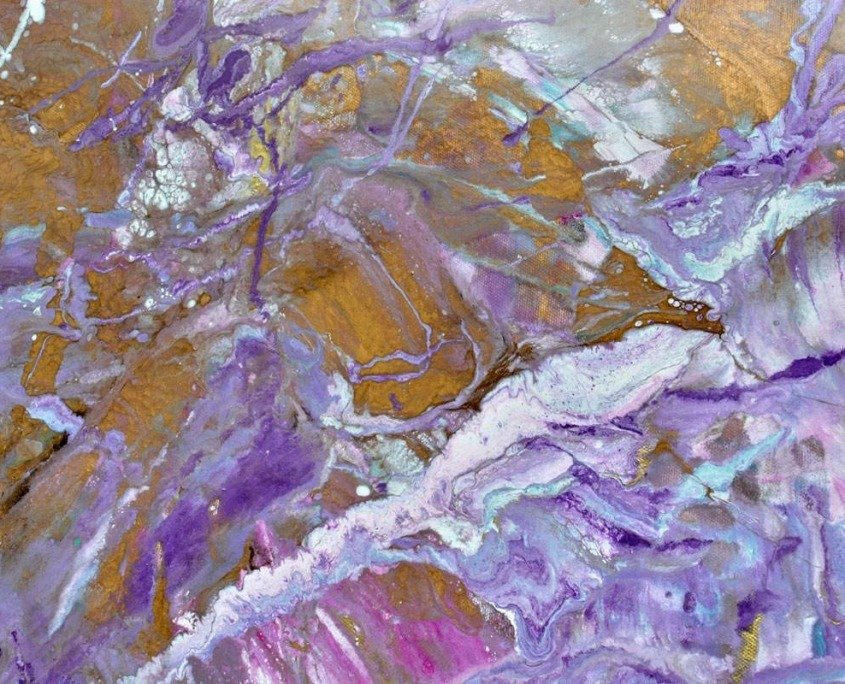 lilac and gold paint on canvas