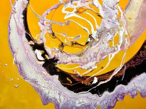yellow and lilac paint on canvas