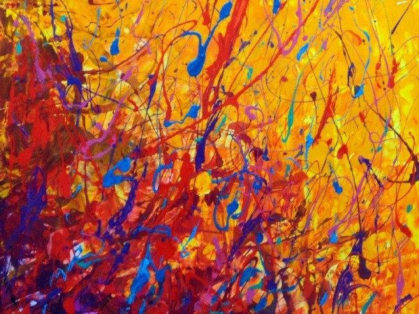 abstract red and yellow painting