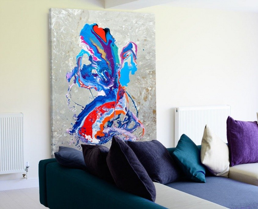 blue and red abstract art painting