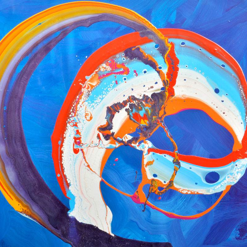 blue red and orange painting