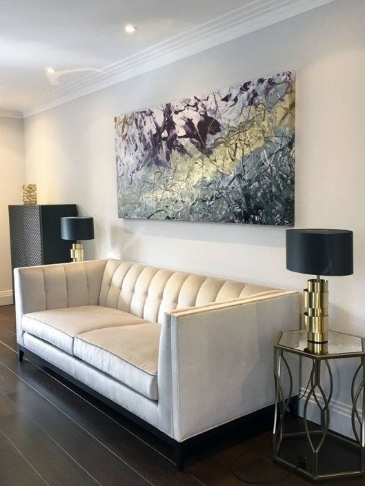 gold-and-purple-painting-in-modern-living-room