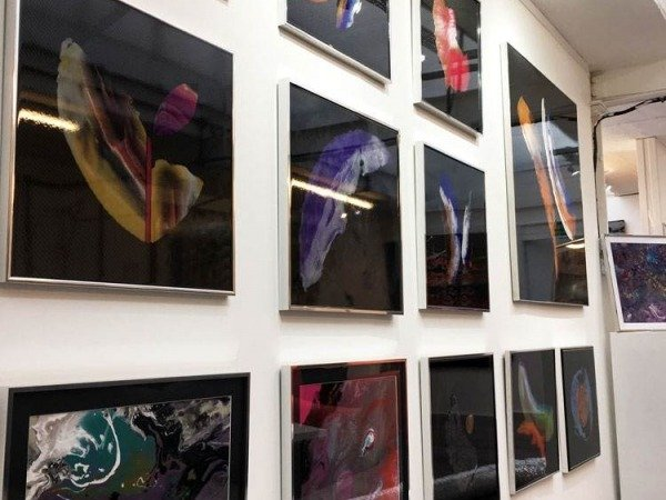 small carbon fibre art works in a gallery