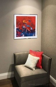 small red and blue abstract painting
