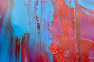 light blue and red paint on canvas